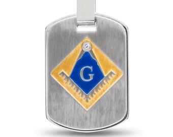 Masonic Necklace, Masonic Pendant, Stainless Steel Necklace, Masonic Dog Tag Necklace, Mason Dog Tag Pendant, Mason Jewelry, Mason Necklace