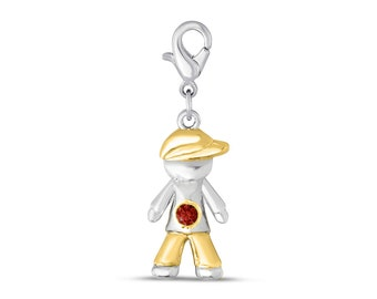 The Kids Collection 14K Two-Tone Gold Small Boy w//Hat on Right Engravable Charm Pendant