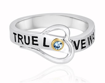 True Love Waits Ring With Personalized Birthstone In Sterling Silver Custom Birthstone Heart Ring for Girlfriend Gift. Long Distance Love
