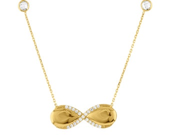 14K Gold Infinity Necklace With 18 Inch Chain