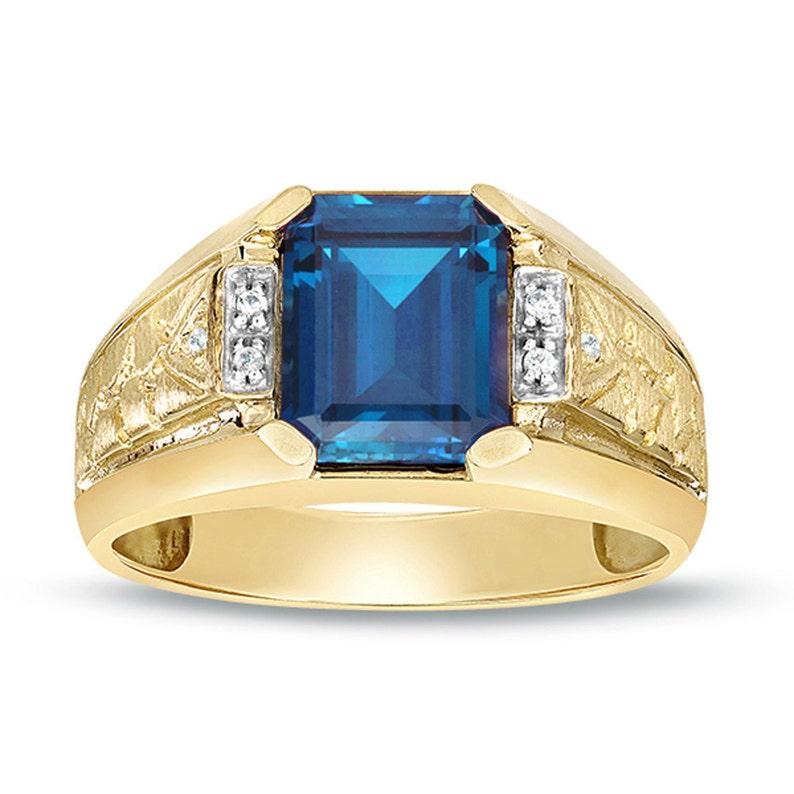 178fe41cc76d5b Men's Solitaire Ring 10K Gold Natural London Blue Topaz | Etsy