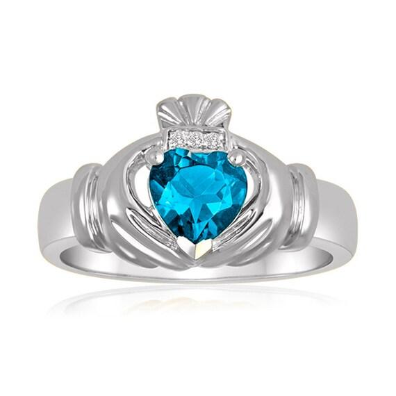 produits chauds meilleur service nouveau style et luxe Topazio azzurro Claddagh Ring, anello Claddagh blu maschile con 3 diamanti  vera anello, argento amore istruzione anello, anello in argento Sterling ...