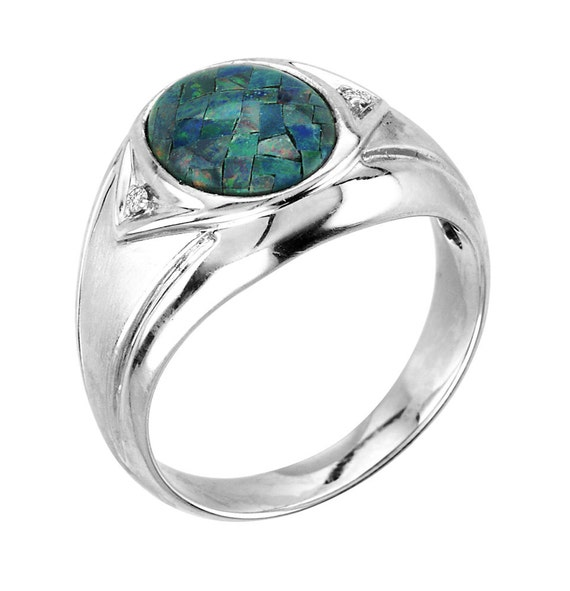 Mens Mosaic Opal /& Diamond Ring Sterling Silver