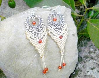 Ethnic macrame earrings with orange carnelian stones