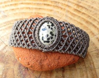 Large macrame bracelet with dalmatian jasper stone