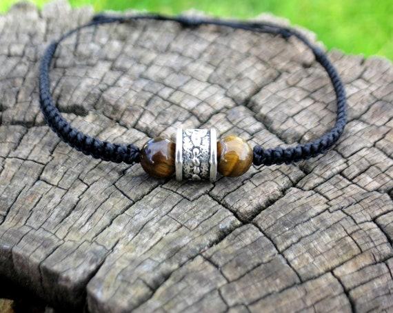 design de qualité f06ed 064b8 Bracelet homme viking celtique pierre oeil de tigre