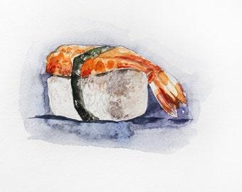 Sushi watercolor original, Sushi Watercolor, Food Painting, Kitchen art, Home decor, sushi art, food art, Wall Decor, food watercolor OOAK