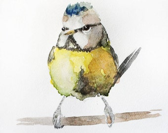 Watercolor titmouse original, Bird art original, baby titmouse art, home decor, Tit watercolor, titmouse watercolor, animal Art OOAK