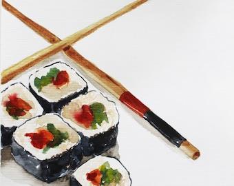 ORIGINAL watercolor sushi, Sushi Watercolor, Food art, Kitchen art, Home decor, Asian Food art, artwork, Wall Decor, food gift, art OOAK