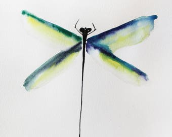 ORIGINAL watercolor DRAGONFLY,  painting watercolor, original art for home, decor for her, gift art, Nature Illustration, dragonfly art OOAK