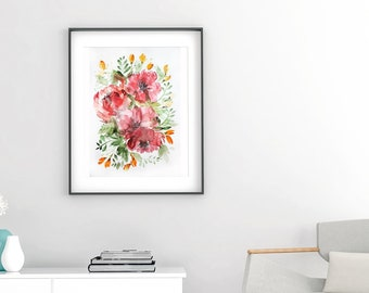 Flowers Abstract ORIGINAL Watercolor peonies painting floral fine wall decor living room art Watercolor painting original illustration OOAK