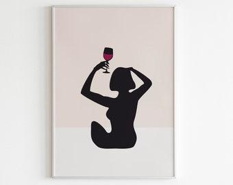 Woman with wine print, Wine Hands Line Art, Wine lover print, Drawing Wine Glass print, Wine Drinker Print, cheers poster wine  illustration