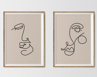Single One Line Face Drawing, Printable Set Of 2 Prints, Artwork Poster download wall art, abstract line Female art Continuous Woman Face