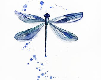 Original watercolor DRAGONFLY, painting watercolor, original art, decor for home,  Nature Illustration, dragonfly decor, dragonfly Art OOAK