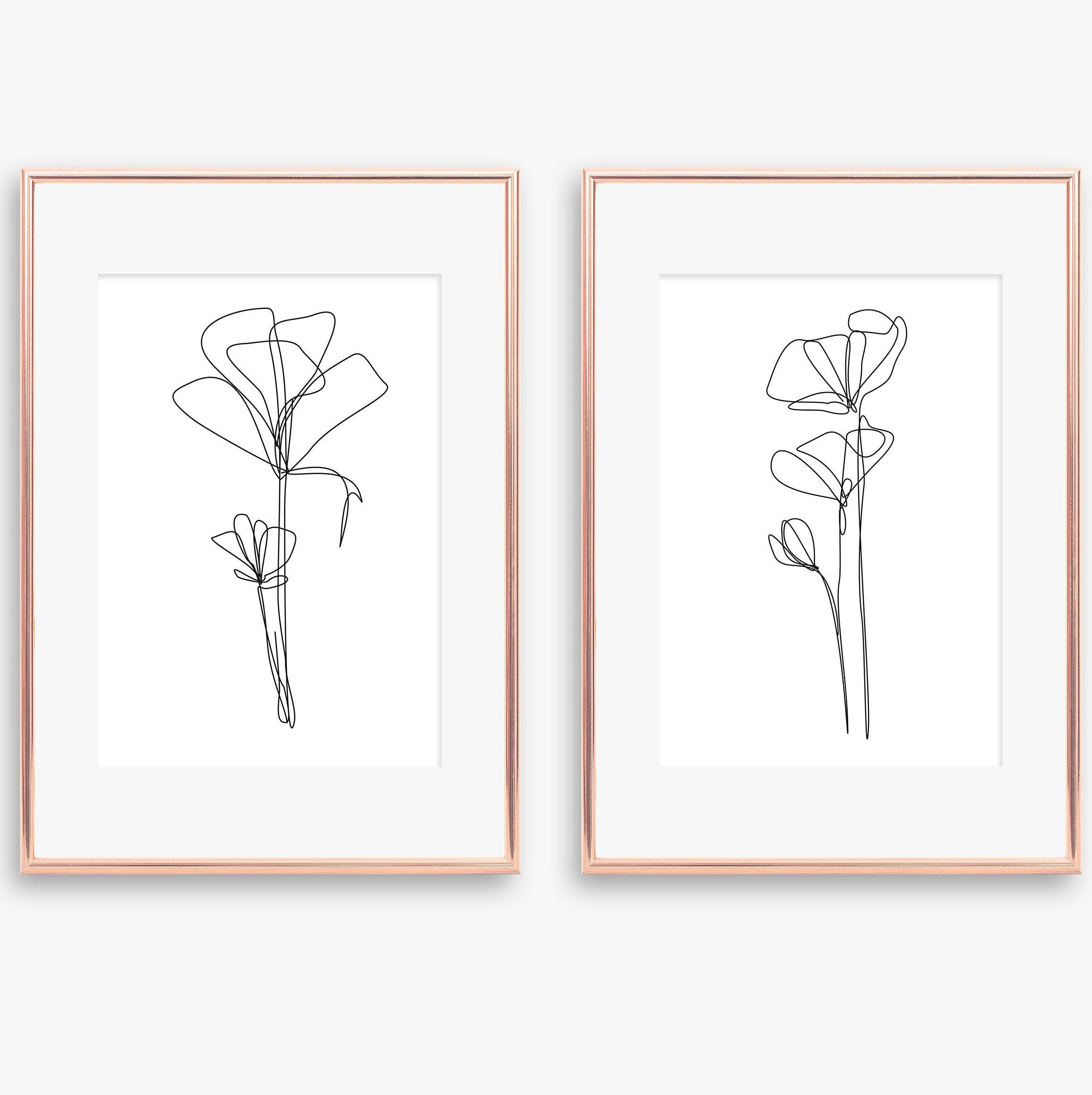 SET One line Floral Drawing Printable Poppies Poppy Poster Botanical  digital poster flowers set one line living room wall art poppy art