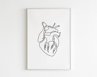 One line Anatomical Heart, Abstract printable Line, Medical one line art, Cardiology line poster, Doctor Office Decor, Heart Illustration