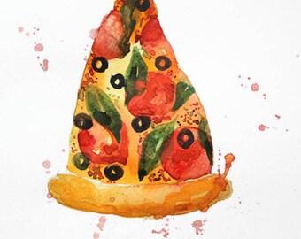 ORIGINAL Watercolor pizza, Pizza Watercolor, Food watercolor, Kitchen art, Italy Food art, artwork, Wall Decor, Food Illustration, wall art