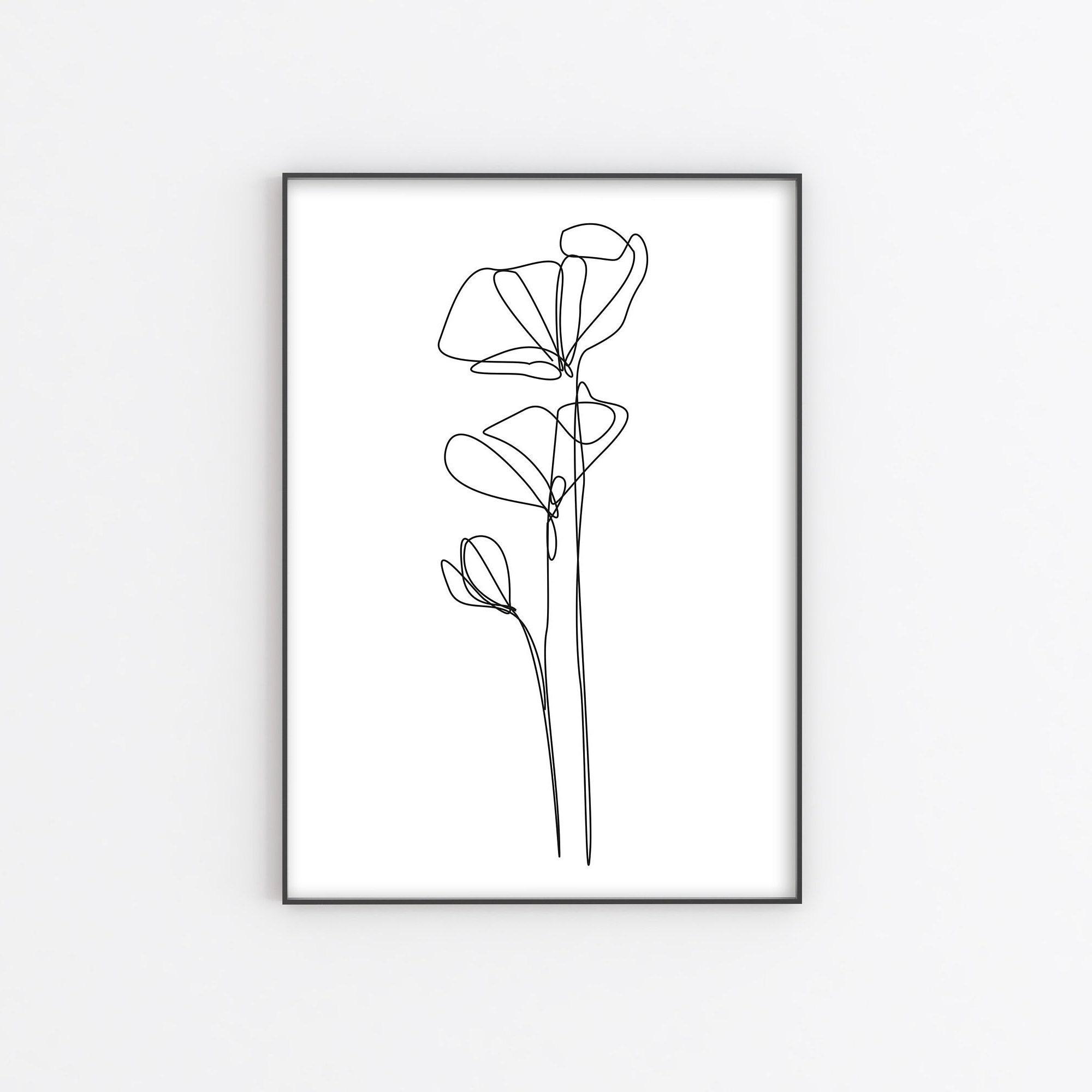 One line Floral Drawing, Printable Poppies printable wall art, poppy print,  Minimalist Poster Botanical, digital Poppy Sketch Art flowers
