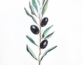 Black Olive ORIGINAL watercolor Leaf Botanical watercolor garden art olive watercolor olive branch Botanical Illustration Leaf Watercolor