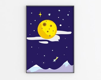 Moon nursery poster, Instant Download Printable, Moon kids print, Boys room wall decor, Full Moon Space, Nursery poster moon, navy blue art