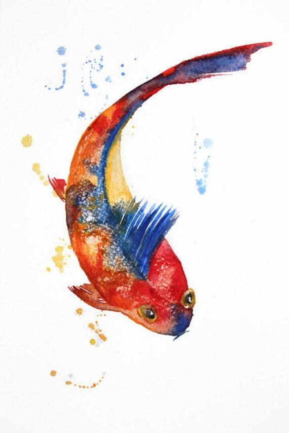 Watercolor Koi Fish Fish watercolor origin...