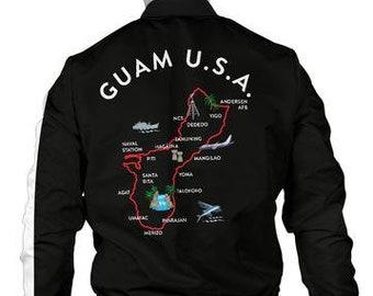 separation shoes c058a adcb6 Guam Map Men s Bomber Jacket