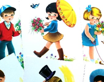 Several unposted blank unused Kruger postcards with scalloped edge boy girl flower dog 1960s