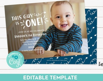 First Birthday Invitation For Boy