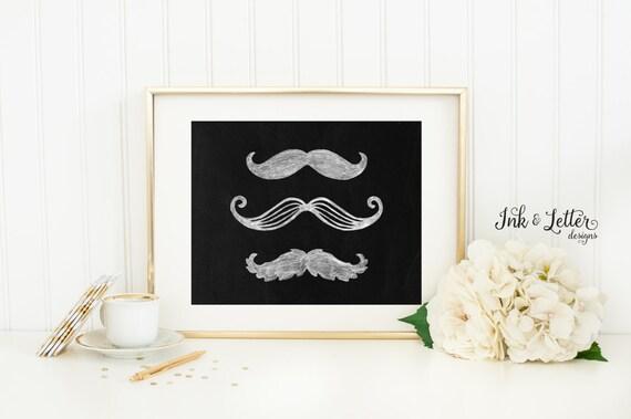 Mustache Wall Art Chalkboard Print Mustache Printable | Etsy