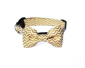 04b2113fd61f Dog Collar and Bow Tie Gold Chevron Striped/ Adjustable Winter Dog Collar  and Bow/ Christmas Dog Collar and Bow/ Christmas Gifts for Dog