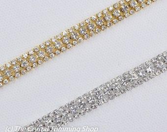 Rose Gold Crystal Rhinestone Trim by the Yard - Wholesale Bridal Trim -  gold Thin Crystal Trim - Metal Rhinestone Trim Applique  TR-029  76f7497a4ce3