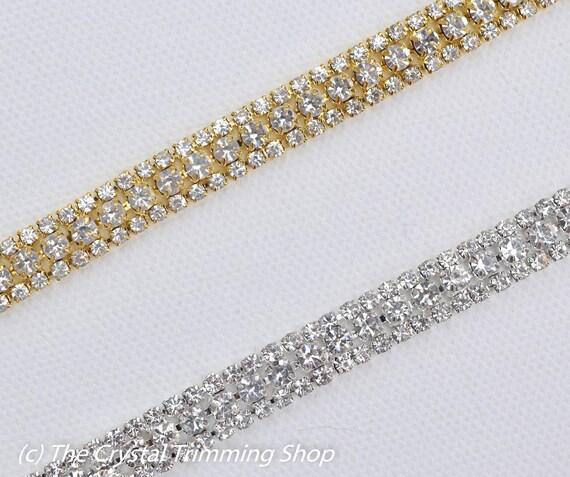 Black Crystal Rhinestone Trim by the Yard Wholesale Bridal Trim Thin Crystal Trim  Black Rhinestone Applique Black Cupchain Style TR50