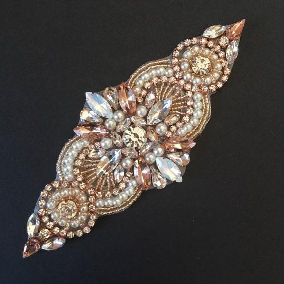 5 small Crystal rose gold Rhinestone Applique DIY Baby  1561806aeb0e