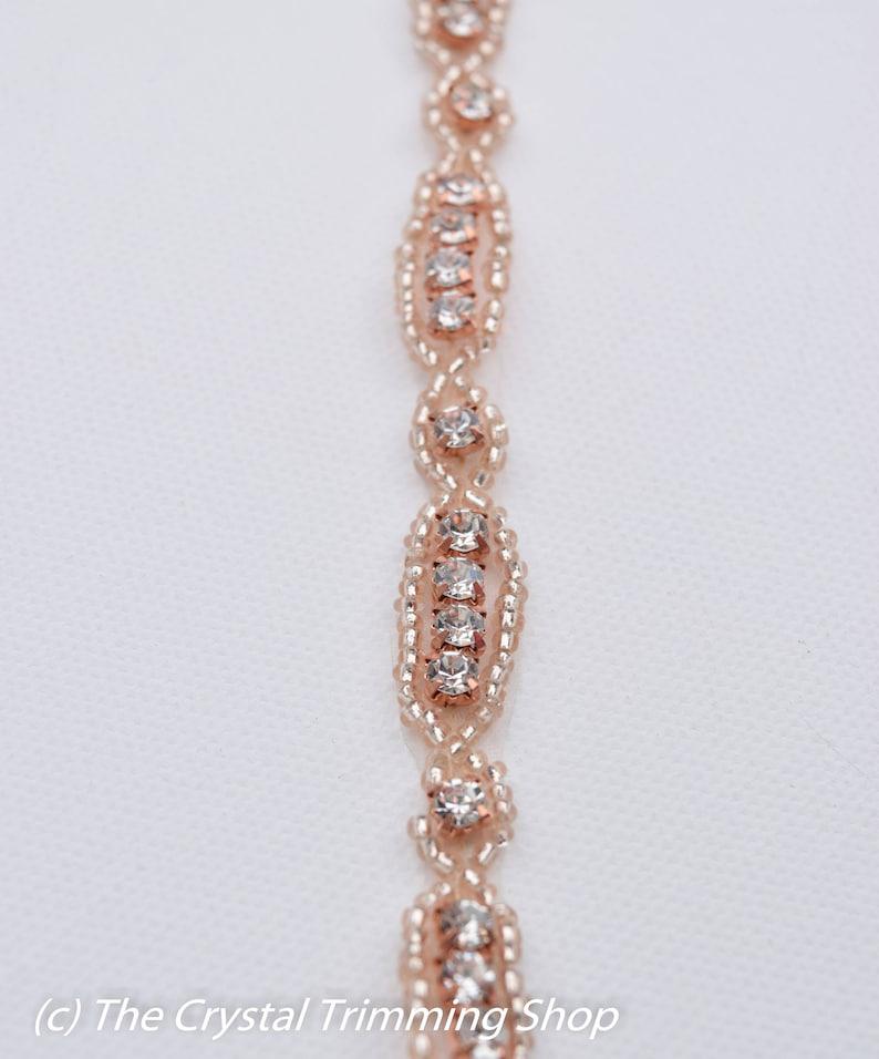 Rose Gold Rhinestone Trim by the Yard-Wholesale Bridal Trim champagne rhinestone beaded headband diy bridal belt gold beaded trim