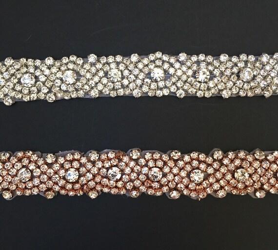 Wholesale rose gold Bridal Trim Rhinestone Applique Crystal Rhinestone Trim by the Yard rose gold rhinestone banding- 1 Crystal Trim