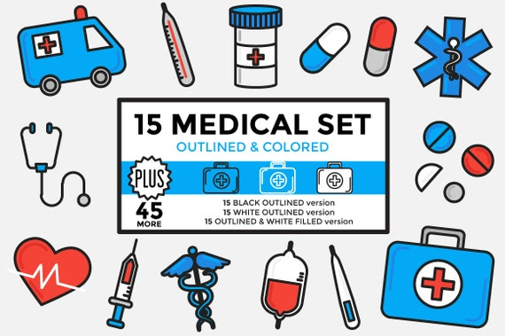 Medical Clipart Healthcare Clipart Hospital Clipart Set Etsy