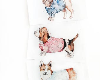 Little Dogs Trio | Watercolor | Drawing | Print | Small | Cute |  Sweater | Marie-Eve Arpin | Illustration | Cute | Corgi | Basset | Pug