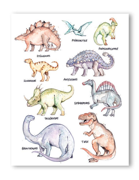 Dinosaurs Species Print 8 5x11 Inches Dinosaurs Species Watercolor Animal Print Reptile T Rex Drawing Triceratops Art