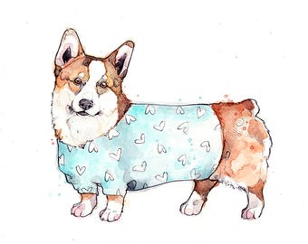 Little Illustration of Corgi with Sweater | Watercolor | Drawing | Animal | Marie-Eve Arpin | Dog | Art | Cute | Deco | Corgi | Print