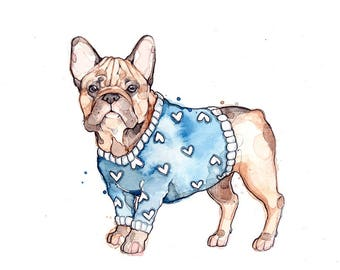 Little Illustration of French Bulldog with Sweater | Watercolor | Drawing | Animal | Marie-Eve Arpin | Dog | Art | Cute | Corgi | Print