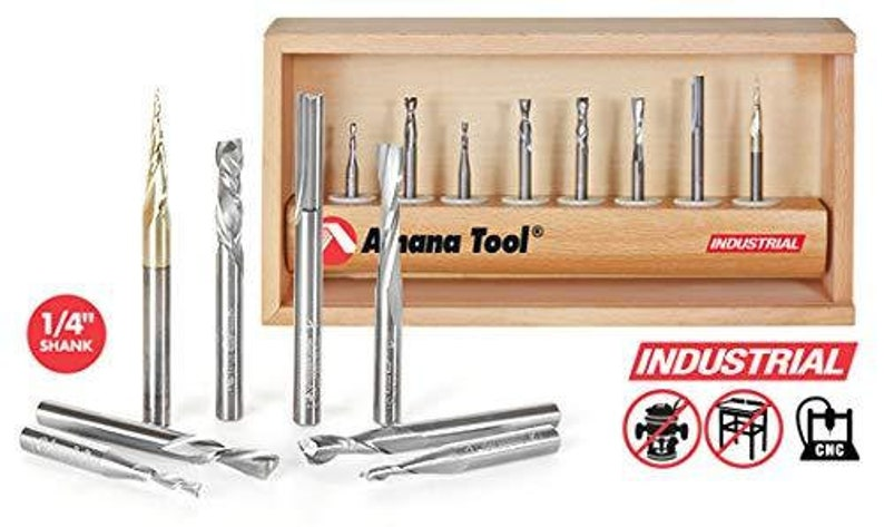Amana Tool AMS-137 8-Pc Spiral Compression 14-Inch SHK Tapered /& Straight CNC Router Bit Collection