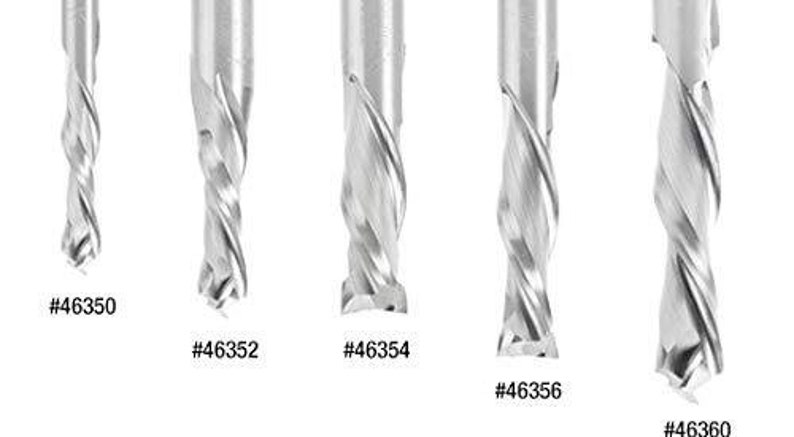 Amana Tool 46350 Cnc Sc Mortise Compression Spiral 14 D X 1 Ch X 14 Shk X 2-12 Inch Long 2 Flute Router Bit