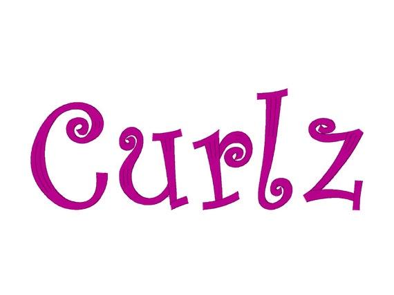 curlz embroidery machine font letter alphabet multiple etsy