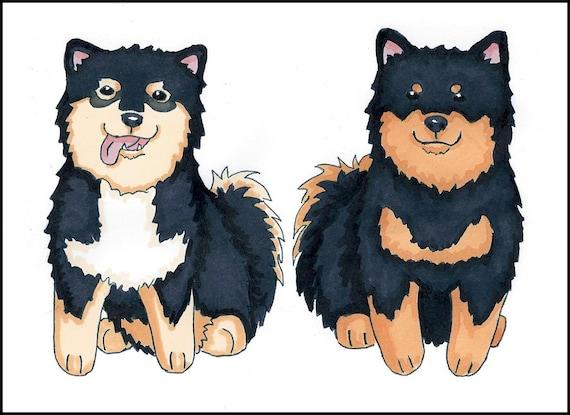Custom Dog Cartoon Doodle 2 Dogs Option Dog Caricature Etsy