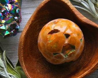 ONE Ocean Jasper Crystal Sphere Heart Chakra Healing Stone Ball Yoga Gifts Meditation Rare Gem Crystals Tumbled Jasper Gem Birthday