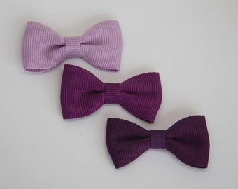 Solid color grosgrain ribbon bow hair clip/ Purple/ Pigtails/ Non-slip hair clip/ Newborn hair bow/ Baby/ Infant hair clip/ Handmade