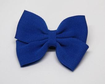 Azure Blue Color Butterfly ribbon bow hair clip/ Non-slip hair clip/ Newborn hair bow/ Baby hairclip/ Infant hair clip/ Handmade