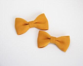 Pigtail set solid color grosgrain ribbon bow hair clip/ Mustard Yellow / Non-slip hair clip/ Newborn hair bow/ Baby/ Infant / Handmade