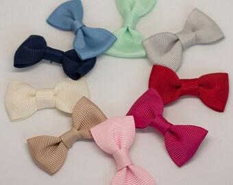 Solid color grosgrain ribbon bow hair clip/ Non-slip hair clip/ Newborn hair bow/ Baby/ Infant hair clip/ Handmade
