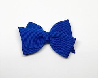Blues- Medium Size Boutique bow w/ Knotted Middle ribbon hair clip/ Non-slip hair clip/ Newborn hair bow/ Baby hairclip/ Infant hai